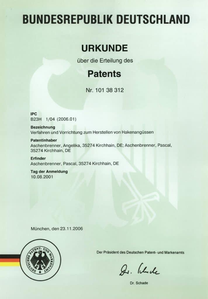 Patent - Verfahren und Vorrichtung zum Herstellen von Hakenangüssen