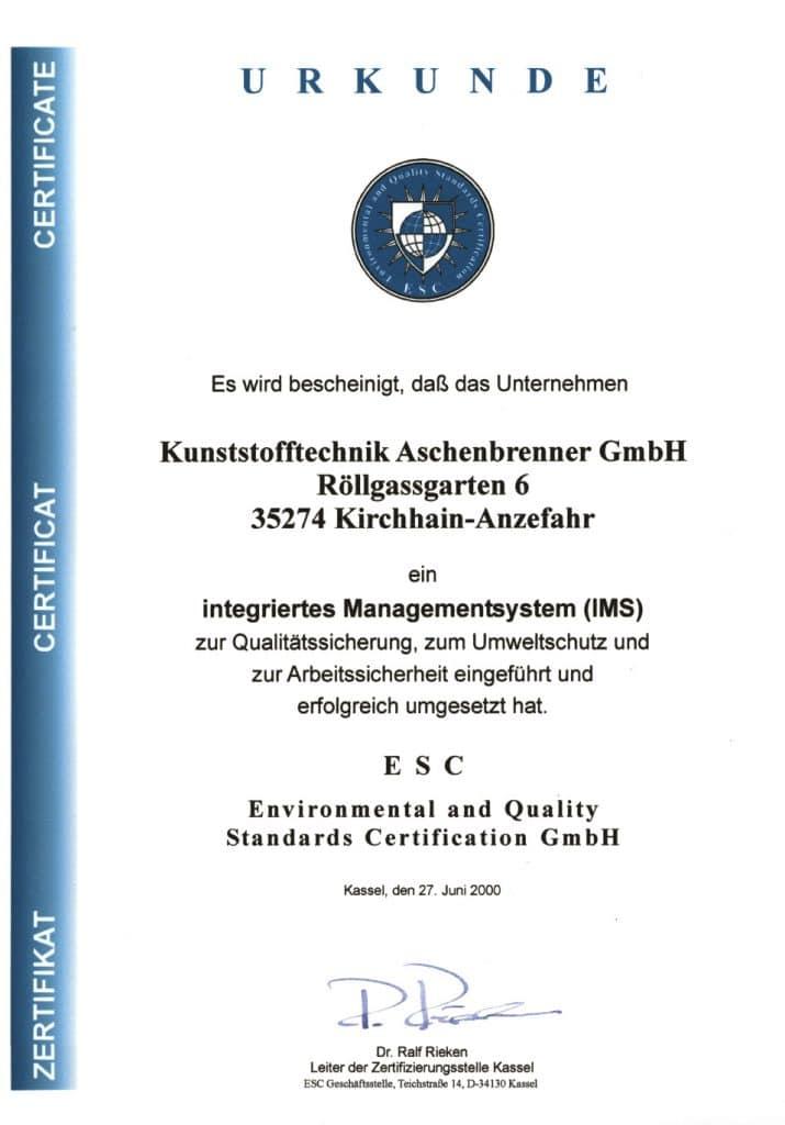 Urkunde - Integriertes Managementsystem (IMS)