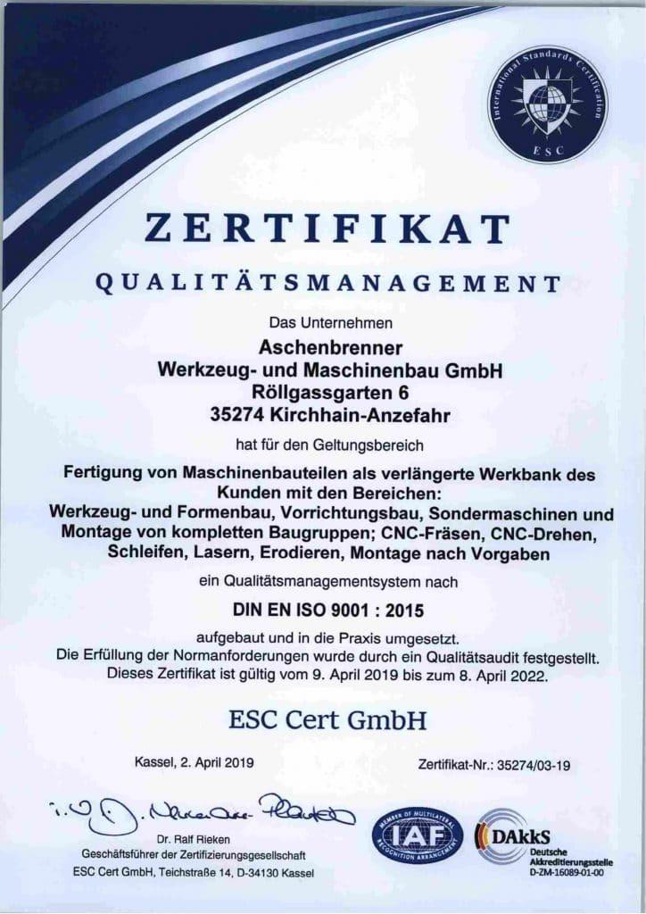 Zertifikat Qualitätsmanagement DIN EN ISO 9001:2015