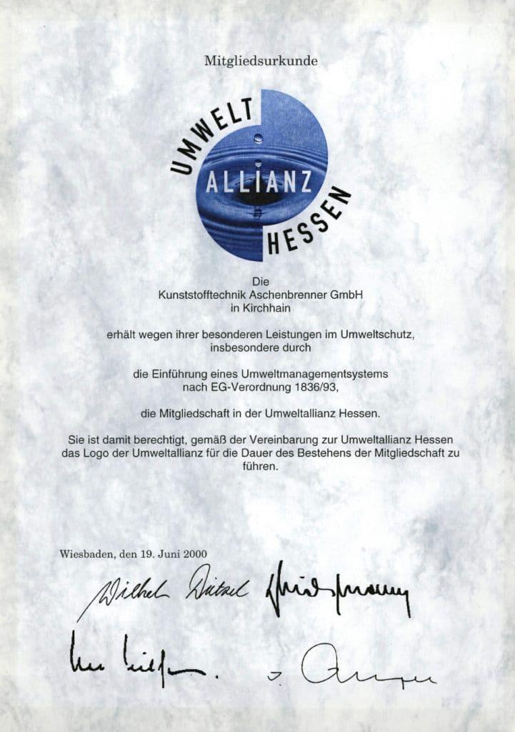 Zertifikat - Umwelt-Allianz Hessen