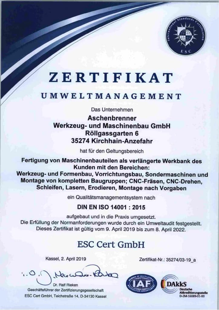 Zertifikat Umweltmanagement DIN EN ISO 14001:2015